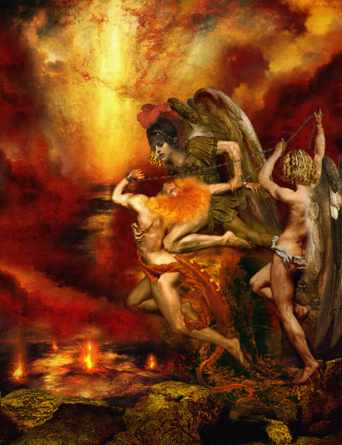 The Fallen Angels, being thrown into Hell, the place of fire and brimstone.