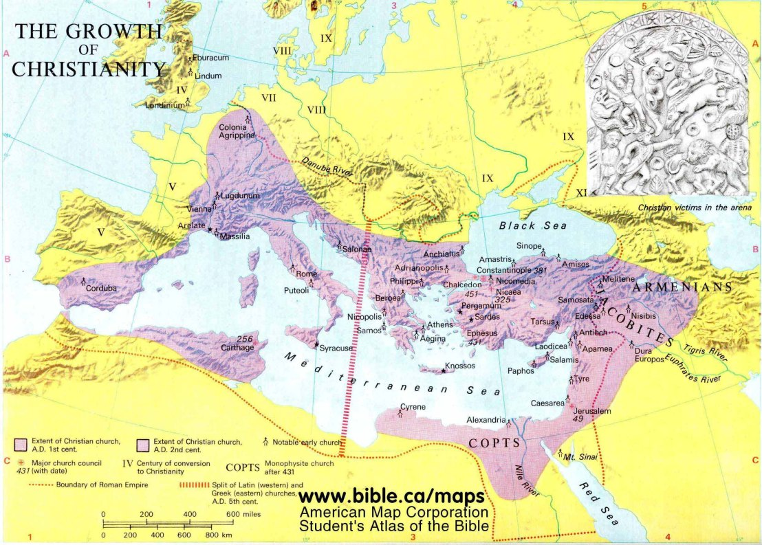 Growth of Christianity Maps Ancient Churches 200 500AD.