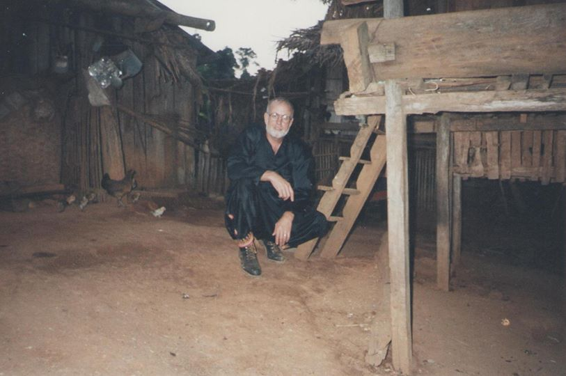 MongNjua (Hmong) Missionary N. Oetker, in MongNjua Village North West Thailand on Myanmar/Burma border. Missionary Oetker and former wife and infant daughter were the first Christian Missionaries to trek into this Himalayan Border MongNjua village, Most of the MongNjua hadn't seen a white person before and they had never heard of the man named