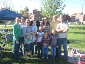 Oetker children L to R Baby-Doll Lydia, Hannah, Rachel baby Ava, Luke, MaryLiz, Dad, James, Rebekah, Levi, Grace, the small children are part of my grandchildren.