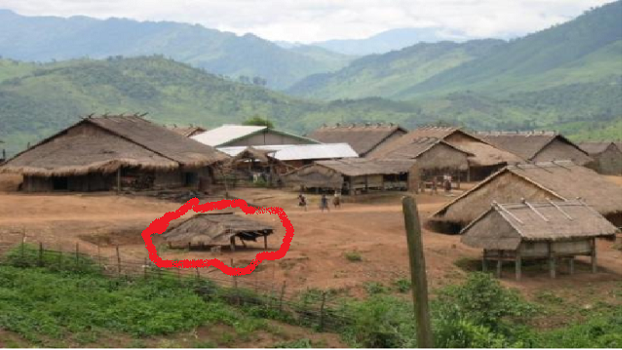 CIRCLED IN RED Mong Njua Animal Manger Stall in late 1970's, our First Mission House!